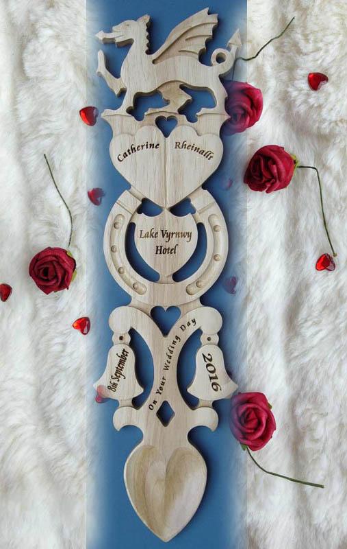 Engraved Welsh Love Spoon Dragon 141