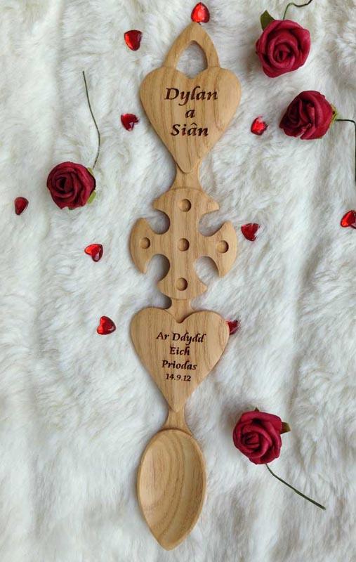 Engraved Welsh Love Spoon H70