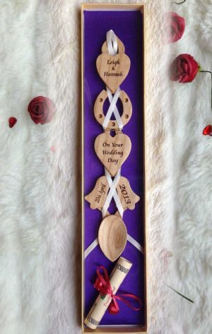 Welsh Love Spoon Engraved for Wedding or Anniversary J82