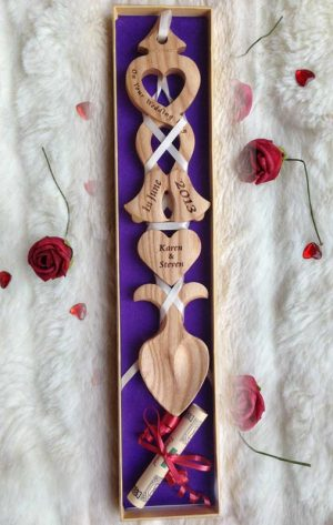 Welsh Love Spoon for Wedding or Anniversary Engraved L86