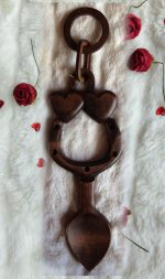 large wooden welsh love spoon