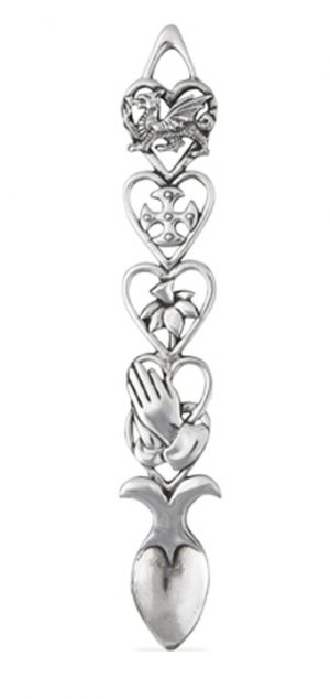 pewter welsh love spoon hands and dragon