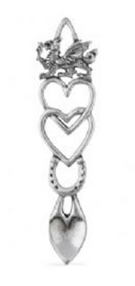 welsh love spoon wedding in pewter hearts
