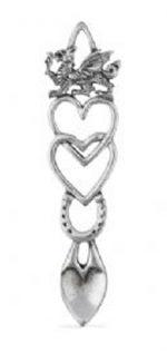 welsh love spoon wedding in pewter hearts